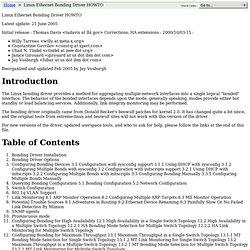Linux Ethernet Bonding Driver HOWTO