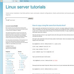 Linux server tutorials