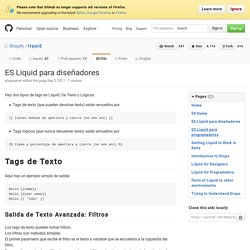 ES Liquid para diseñadores · Shopify/liquid Wiki