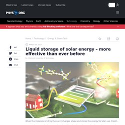Liquid storage of solar energy – more effective than ever before