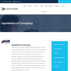 Liquidation of Company - K-ZEN Advisors