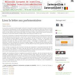 Modèle de lettre aux parlementaires sur le Mécanisme Européen de Stabilité