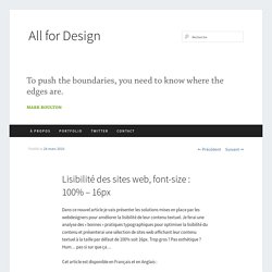 Lisibilité des sites web, font-size : 100% – 16px | All For Design