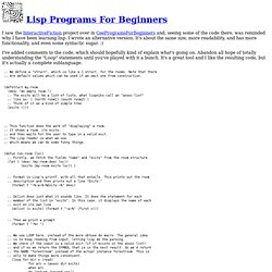 Lisp Programs For Beginners
