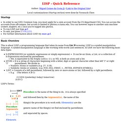 LISP - Quick Reference