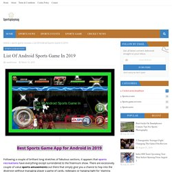List Of Android Sports Game In 2019