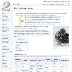 List of animal names