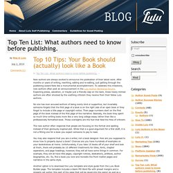 Top Ten List: What authors need to know before publishing.