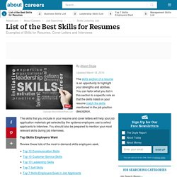 Skills for Resumes (Types, Examples and Skills Lists)