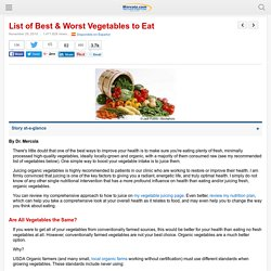 List of Best & Worst Vegetables to Eat