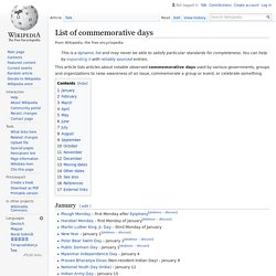 List of commemorative days - Wikipedia