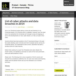 List of cyber attacks and data breaches in 2014