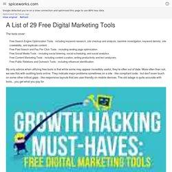 A List of 29 Free Digital Marketing Tools