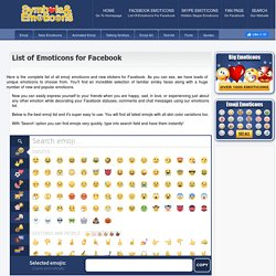 List Of Emoticons For Facebook - Facebook Symbols And Chat Emoticons