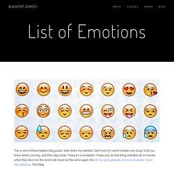 List of Emotions — Blacktop Comedy Club