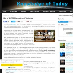 List of 40 FREE Educational Websites