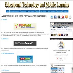 A List of Free Must Have PDF Tools for Educators