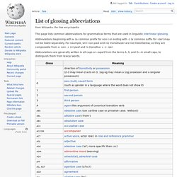 List of glossing abbreviations