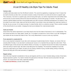 A List Of Healthy Life-Style Tips For Adults: Food