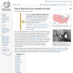 List of Jim Crow law examples by state