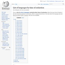 List of languages by time of extinction