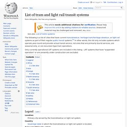 List of tram and light rail transit systems