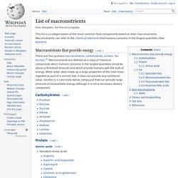List of macronutrients
