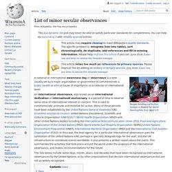 List of minor secular observances