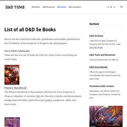 List of all D&D 5e Books - D&D Tomb