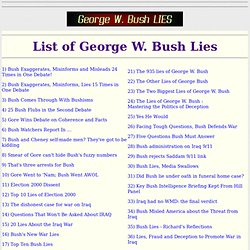 List Of George W. Bush Lies