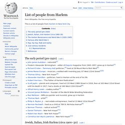 List of people from Harlem