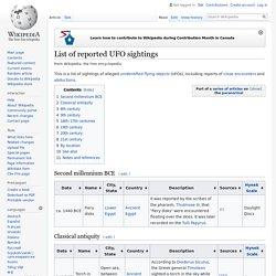 List of UFO sightings