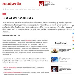 List of Web 2.0 Lists
