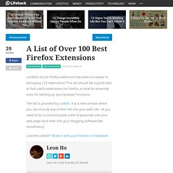 A List of Over 100 Best Firefox Exten
