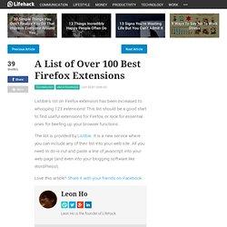 A List of Over 100 Best Firefox Exten