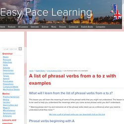 List of phrasal verbs a to z examples