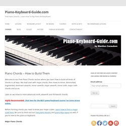 List of piano chords - free chord charts