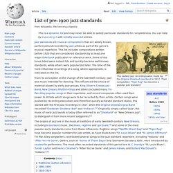 List of pre-1920 jazz standards