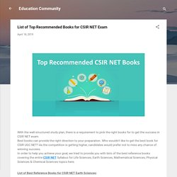 List of Top Recommended Books for CSIR NET Exam