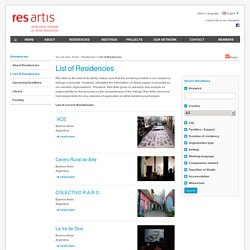 List of Residencies
