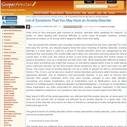 List of Symptoms That You May Have an Anxiety Disorder