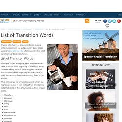 List of Transition Words
