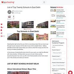 List of Top Twenty Schools In East Delhi