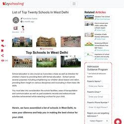 List of Top Twenty Schools In West Delhi
