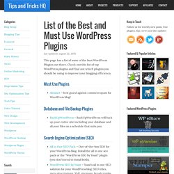 Top List of the Best and Must Use WordPress Plugins