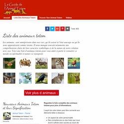 Liste des Animaux Totems