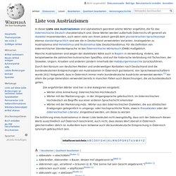 Liste von Austriazismen