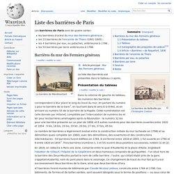 Liste des barrières de Paris