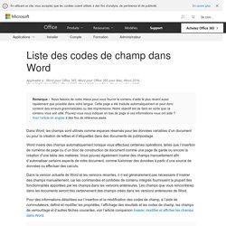 Liste des codes de champ dans Word