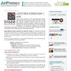 Liste des codes NAF et des codes APE (INSEE) - JuriPresse